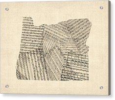 Old Sheet Music Map Of Oregon Acrylic Print