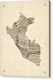 Old Sheet Music Map Of Peru Map Acrylic Print