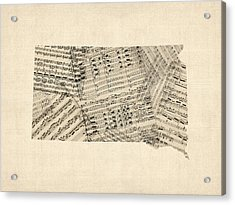 Old Sheet Music Map Of South Dakota Acrylic Print
