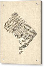 Old Sheet Music Map Of Washington Dc Acrylic Print