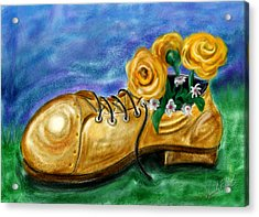 Old Shoe Planter Acrylic Print by David Kyte