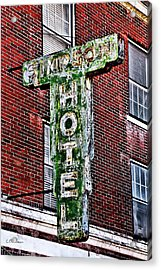 Old Simpson Hotel Sign Acrylic Print by Christopher Holmes