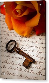 Old Skeleton Key On Letter Acrylic Print by Garry Gay