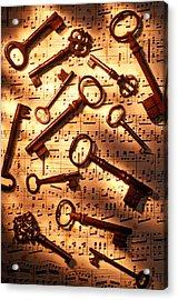 Old Skeleton Keys On Sheet Music Acrylic Print by Garry Gay