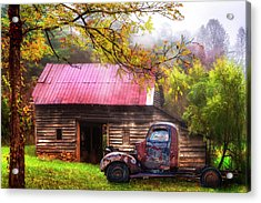 Acrylic Print featuring the photograph Old Smoky Truck And Barn by Debra and Dave Vanderlaan