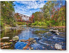 Acrylic Print featuring the photograph Old Steel Truss Train Bridge Newport New Hampshire by Edward Fielding