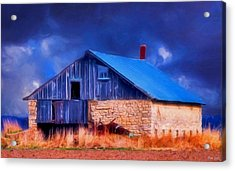 Old Stone Barn Blue Acrylic Print