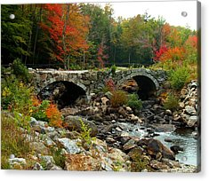 Old Stone Bridge In Fall Acrylic Print by Lois Lepisto
