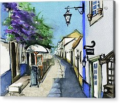 Acrylic Print featuring the painting Old Street In Obidos, Portugal by Dora Hathazi Mendes