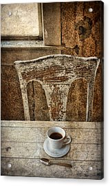 Old Table And Chair With Coffee Acrylic Print