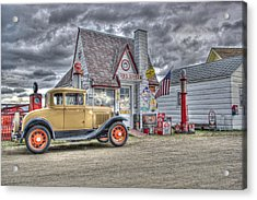 Old Time Gas Station Acrylic Print by Shelly Gunderson