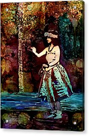 Acrylic Print featuring the painting Old Time Hula Dancer by Marionette Taboniar