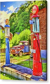 Acrylic Print featuring the painting Old Time Vintage Gas Pumps Ap by Dan Carmichael