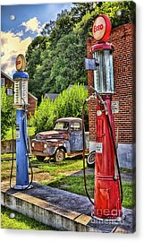 Acrylic Print featuring the photograph Old Time Vintage Gas Pumps by Dan Carmichael