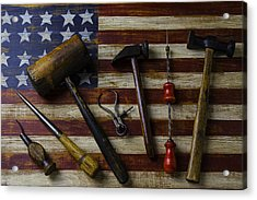 Old Tools On Wooden Flag Acrylic Print by Garry Gay