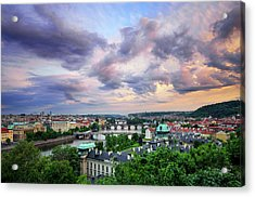 Old Town And Charles Bridge, Prague, Czech Republic Acrylic Print