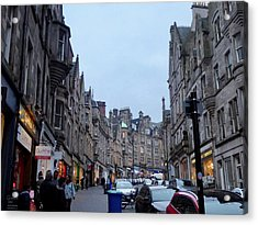 Old Town Edinburgh Acrylic Print by Margaret Brooks