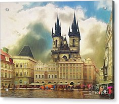 Old Town Square Prague In The Rain Acrylic Print