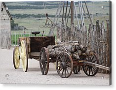 Old Tractor And Wagon In Foreground Cove Creek Fort Photography By Colleen Acrylic Print