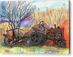 Old Tractor Danvers Ma Acrylic Print by Paul Meinerth