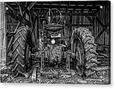 Old Tractor In The Barn Black And White Acrylic Print by Edward Fielding