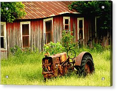 Old Tractor Acrylic Print by Iris Greenwell