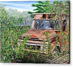 Acrylic Print featuring the painting Old Truck Rusting by Marilyn  McNish