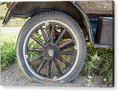 Acrylic Print featuring the photograph Old Truck Tire In Rural Rocky Mountain Town by Peter Ciro