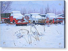 Old Trucks In Snow Acrylic Print