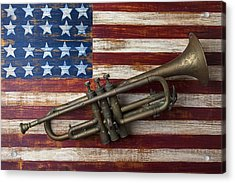 Old Trumpet On American Flag Acrylic Print