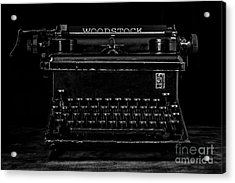 Old Typewriter Black And White Low Key Fine Art Photography Acrylic Print by Edward Fielding