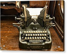 Old Typewriter Acrylic Print by Linda Constant