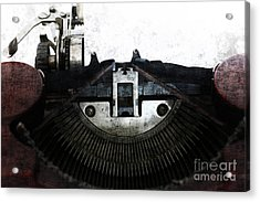 Old Typewriter Machine In Grunge Style Acrylic Print by Michal Boubin