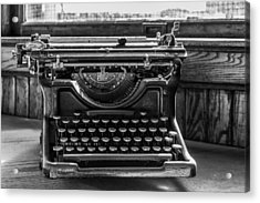Old Typewriter Acrylic Print by Thomas Young
