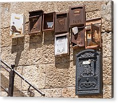 Old  Mailboxes In Jerusalem Acrylic Print