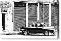 Old Vintage Car In Havana Acrylic Print by Edward Fielding
