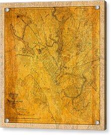 Old Vintage Map Of Jacksonville Florida Circa 1864 Civil War On Worn Distressed Parchment Acrylic Print