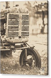 Acrylic Print featuring the photograph Old Vintage Tractor Brown Toned by Edward Fielding