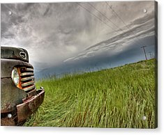 Old Vintage Truck On The Prairie Acrylic Print by Mark Duffy