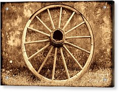 Old Wagon Wheel Acrylic Print by American West Legend By Olivier Le Queinec