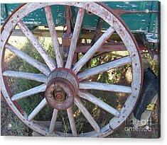 Acrylic Print featuring the photograph Old Wagon Wheel by Dora Sofia Caputo Photographic Art and Design