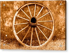 Old Wagon Wheel - Sepia Acrylic Print by Olivier Le Queinec