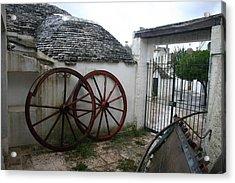 Old Wagon Wheels Acrylic Print by Dennis Curry