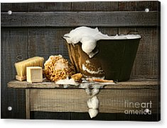 Old Wash Tub With Soap On Bench Acrylic Print
