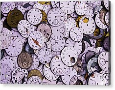 Old Watch Faces Acrylic Print by Garry Gay