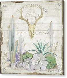 Acrylic Print featuring the painting Old West Cactus Garden W Deer Skull N Succulents Over Wood by Audrey Jeanne Roberts