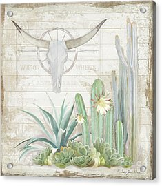 Acrylic Print featuring the painting Old West Cactus Garden W Longhorn Cow Skull N Succulents Over Wood by Audrey Jeanne Roberts