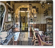Old West Victorian Barber Shop Interior - Montana Territory Acrylic Print by Daniel Hagerman