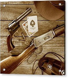 Old West Weapons In Sepia Acrylic Print