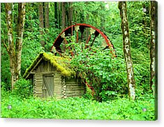 Old Wheel And Cabin Acrylic Print by Jeff Swan